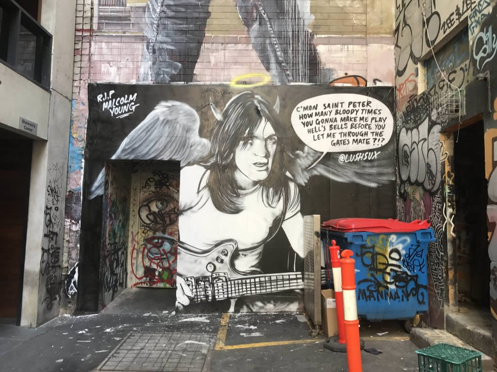 Malcolm Young in street art. Melbourne.